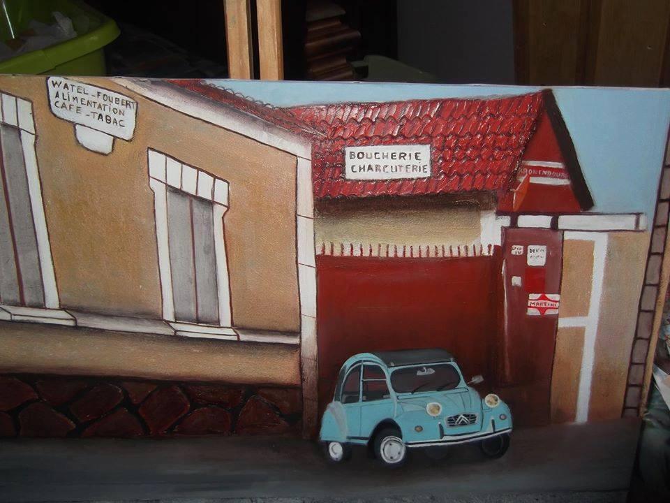 Toile représentant une voiture devant un café et une boucherie