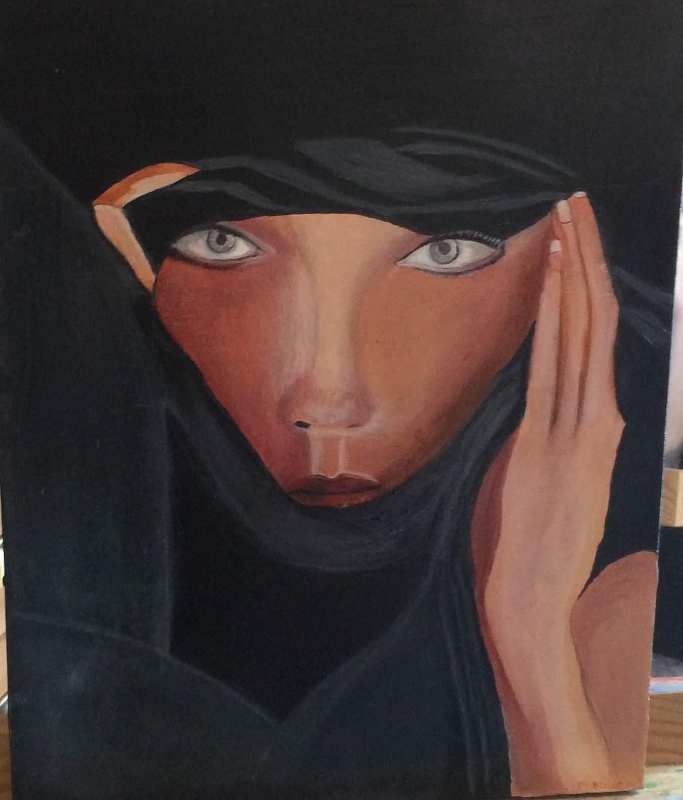 Visage femme voile noir