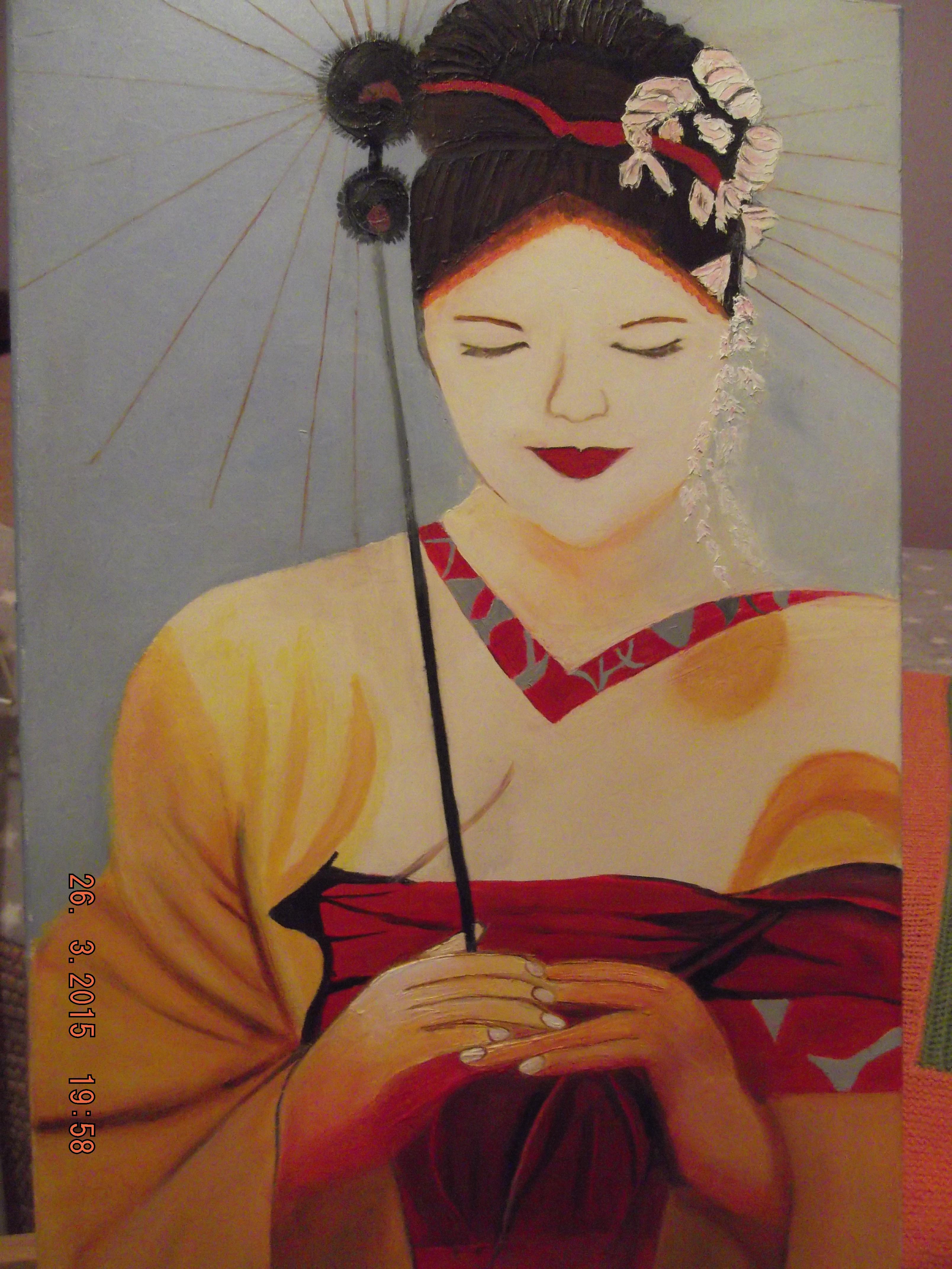Geisha avec kimono et ombrelle