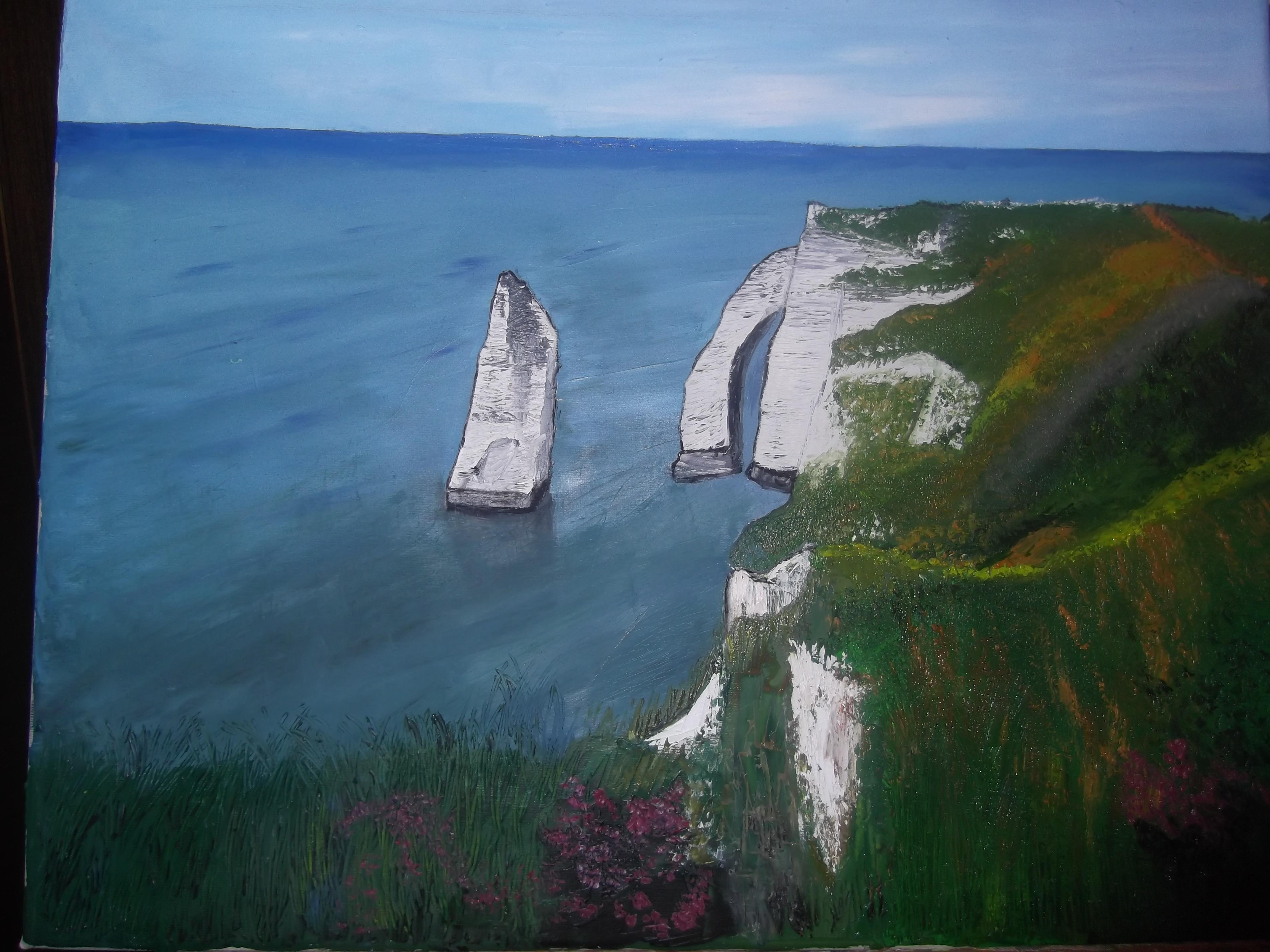 Falaises d'Etretat, paysage montrant des falaises et la mer