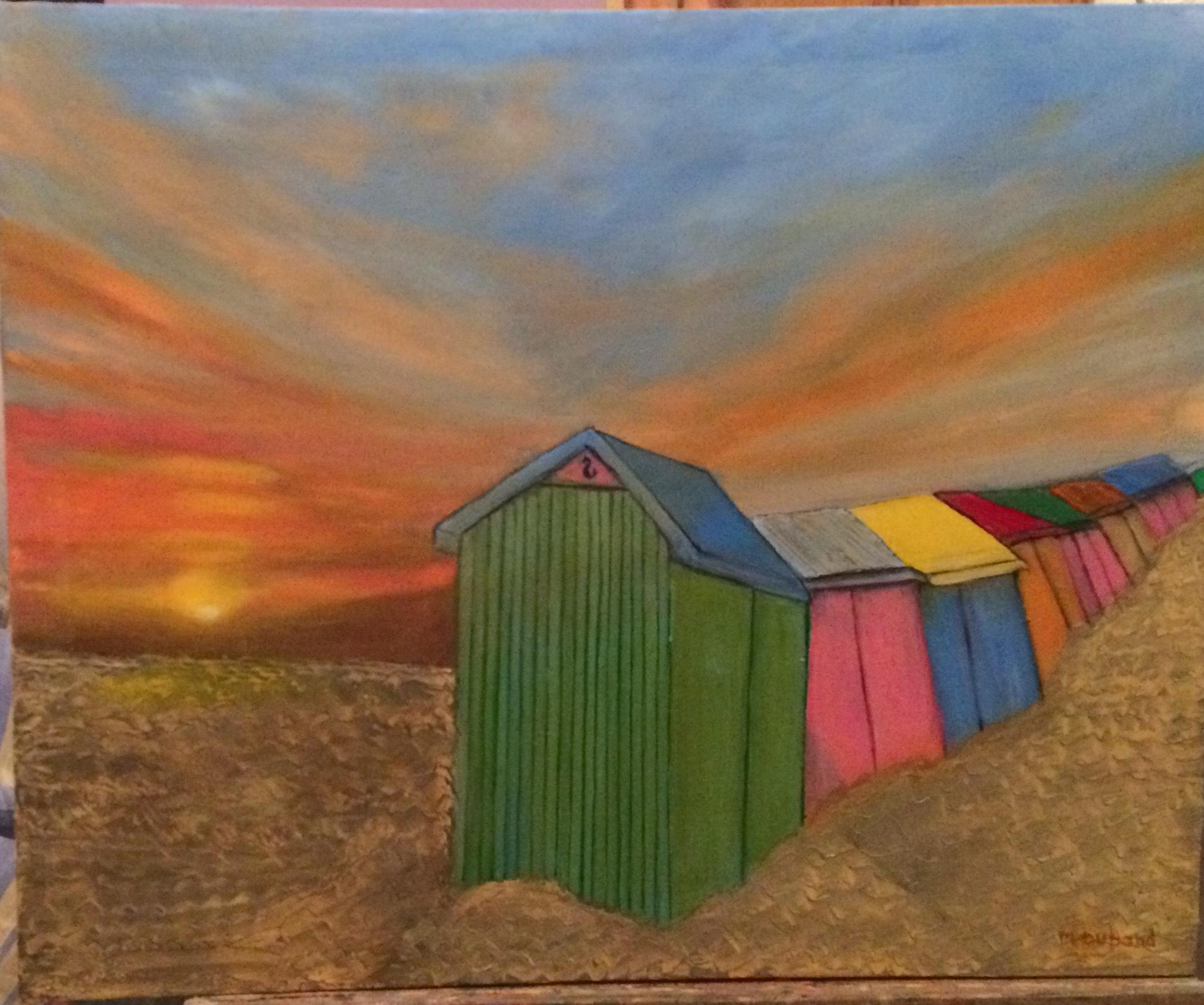 Cabines de plages colorés sur la plage de Berck au coucher de soleil