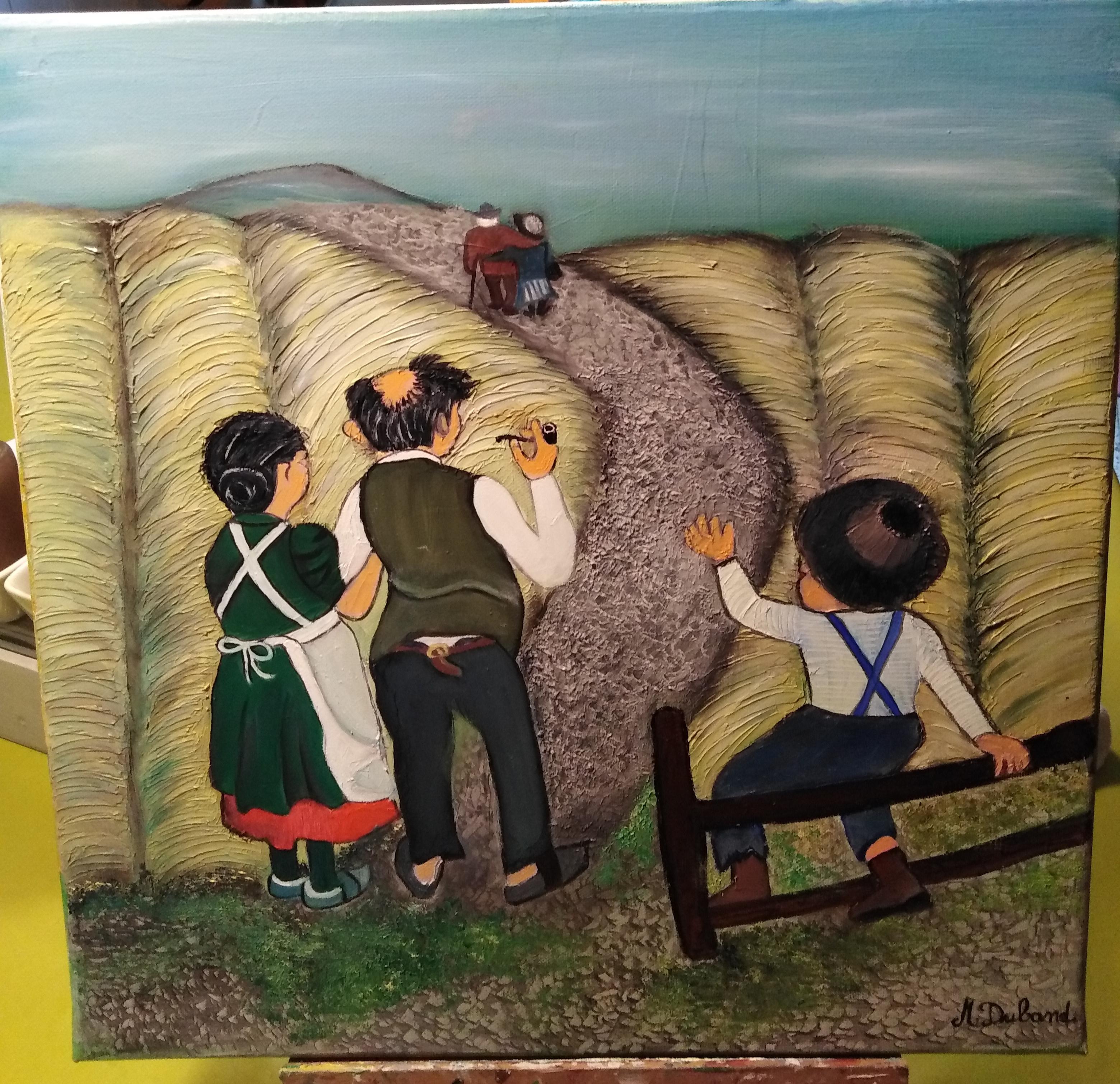 3 paysans de dos qui regardent un couple partir au loin au milieu d'un champ de blé